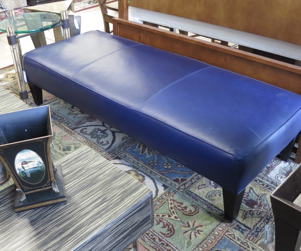 Royal Blue Leather Bench