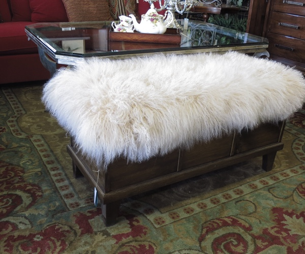 gold contemporary white kathalina modern sheepskin bench simonetta bedroom legs
