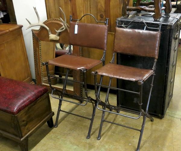 Iron Leather Bar Stools