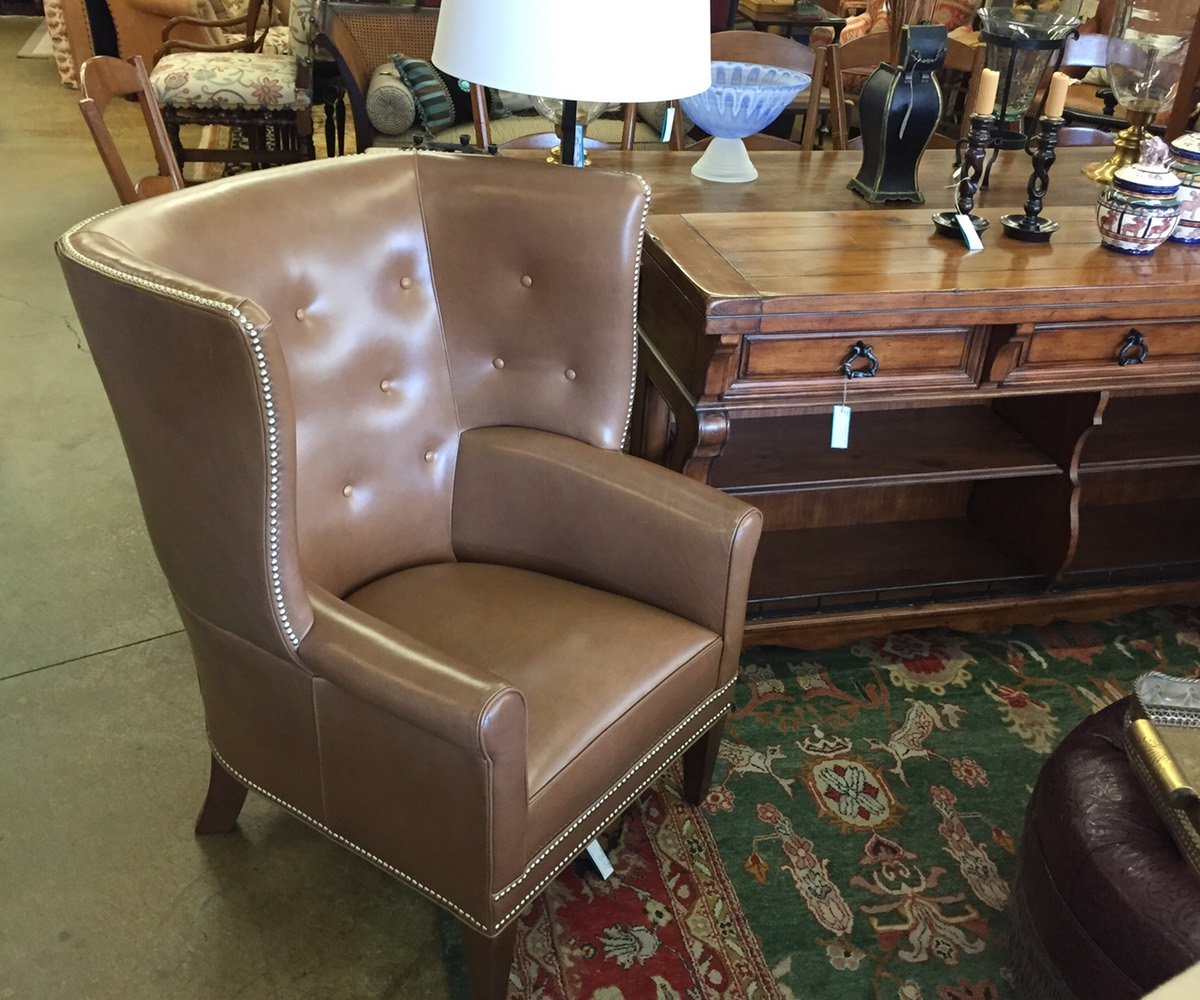 Mitchell Gold Leather Wingback Chair
